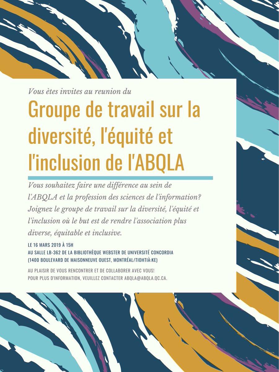 Groupe de travail sur la diversité, l'équité et l'inclusion de l'ABQLA réunion 1